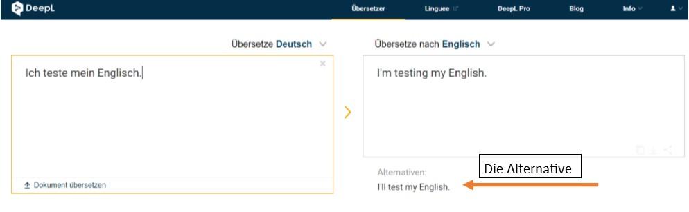 Englisch Übersetzer deepl